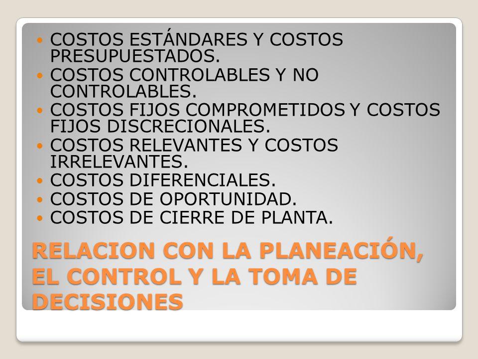 RELACION CON LA PLANEACIÓN, EL CONTROL Y LA TOMA DE DECISIONES COSTOS ESTÁNDARES Y COSTOS PRESUPUESTADOS. COSTOS CONTROLABLES Y NO CONTROLABLES. COSTO
