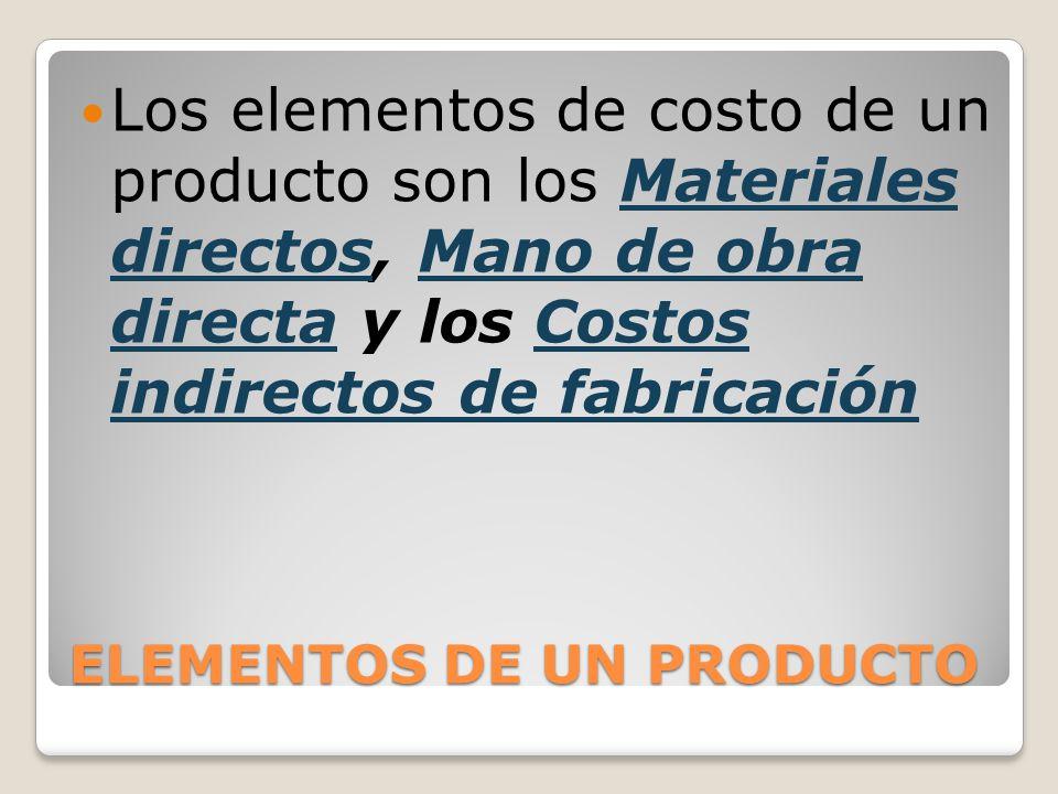 ELEMENTOS DE UN PRODUCTO Los elementos de costo de un producto son los Materiales directos, Mano de obra directa y los Costos indirectos de fabricació