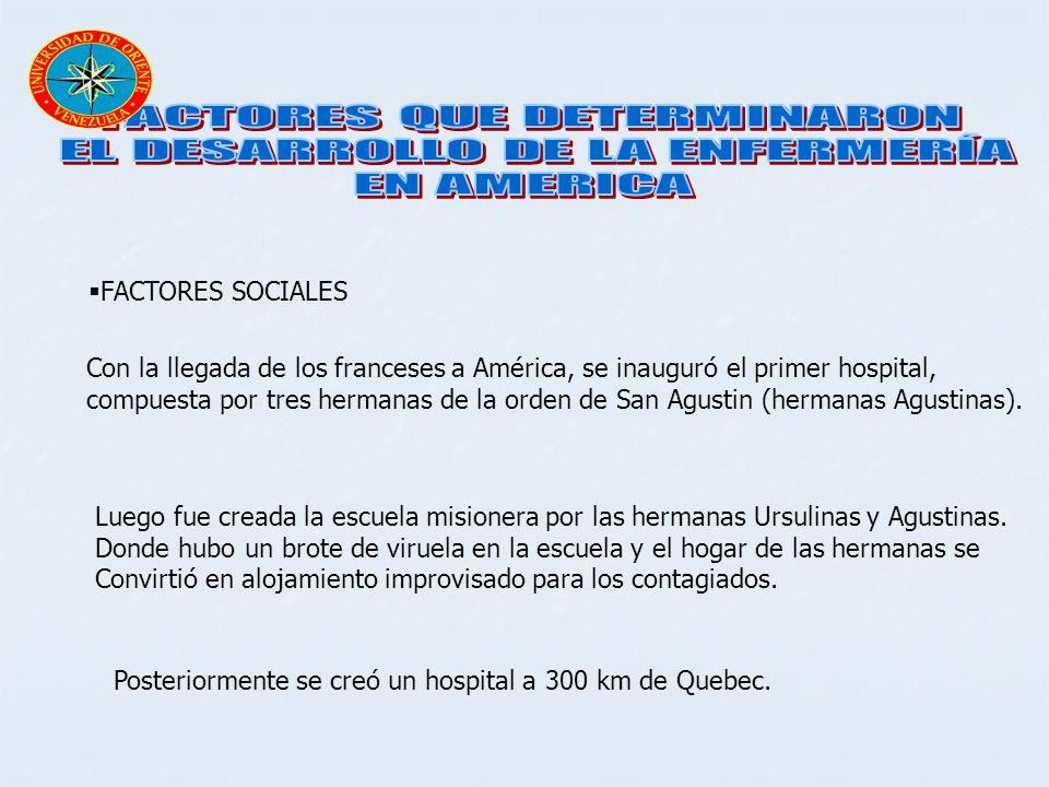FACTORES SOCIALES Con la llegada de los franceses a América, se inauguró el primer hospital, compuesta por tres hermanas de la orden de San Agustin (h