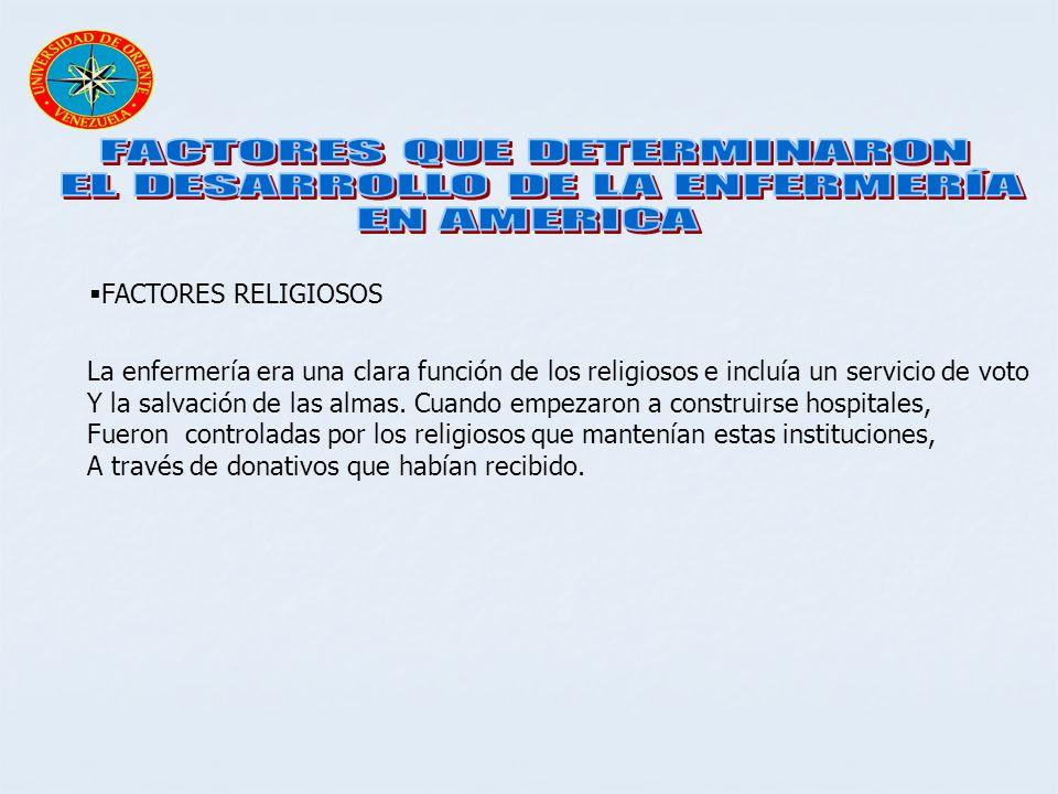 FACTORES RELIGIOSOS La enfermería era una clara función de los religiosos e incluía un servicio de voto Y la salvación de las almas. Cuando empezaron