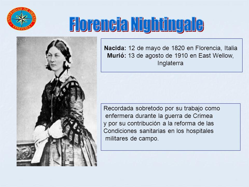 Nacida: 12 de mayo de 1820 en Florencia, Italia Murió: 13 de agosto de 1910 en East Wellow, Inglaterra Recordada sobretodo por su trabajo como enferme