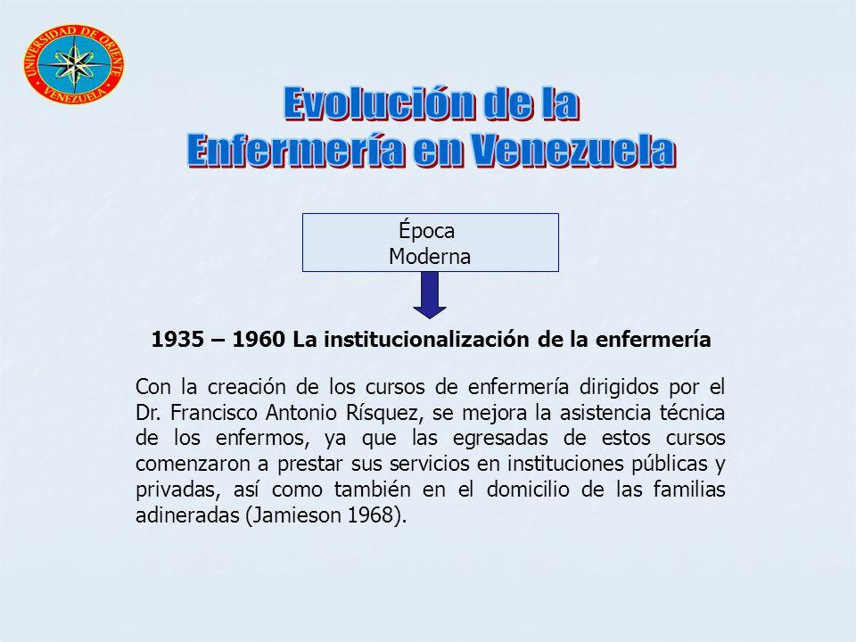 Época Moderna 1935 – 1960 La institucionalización de la enfermería Con la creación de los cursos de enfermería dirigidos por el Dr. Francisco Antonio