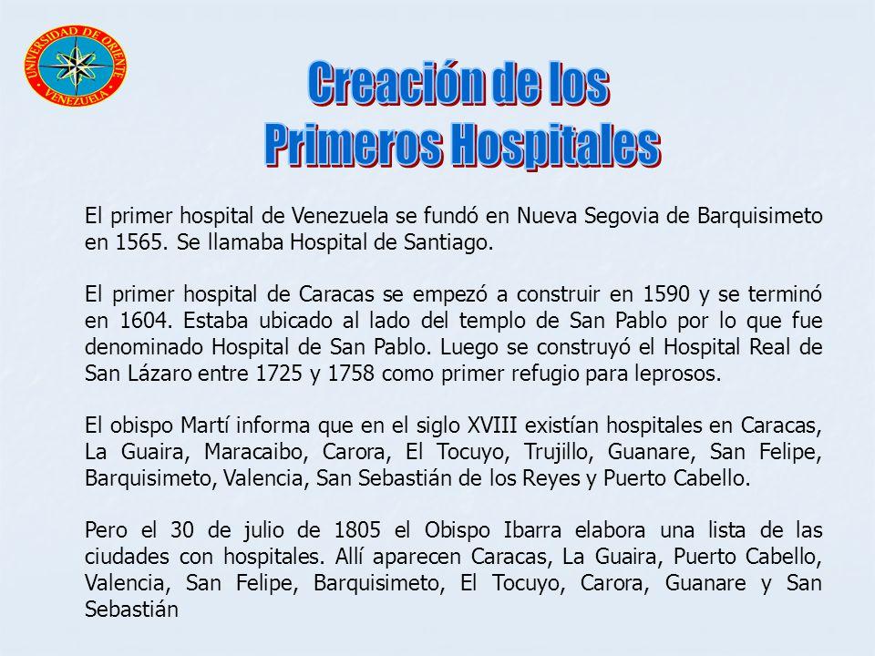 El primer hospital de Venezuela se fundó en Nueva Segovia de Barquisimeto en 1565. Se llamaba Hospital de Santiago. El primer hospital de Caracas se e