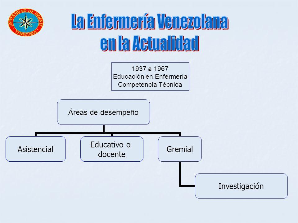 1937 a 1967 Educación en Enfermería Competencia Técnica Áreas de desempeño Asistencial Educativo o docente Gremial Investigación