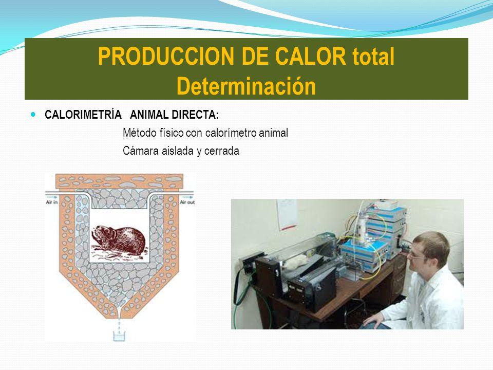 CALORIMETRÍA ANIMAL DIRECTA: Método físico con calorímetro animal Cámara aislada y cerrada PRODUCCION DE CALOR total Determinación