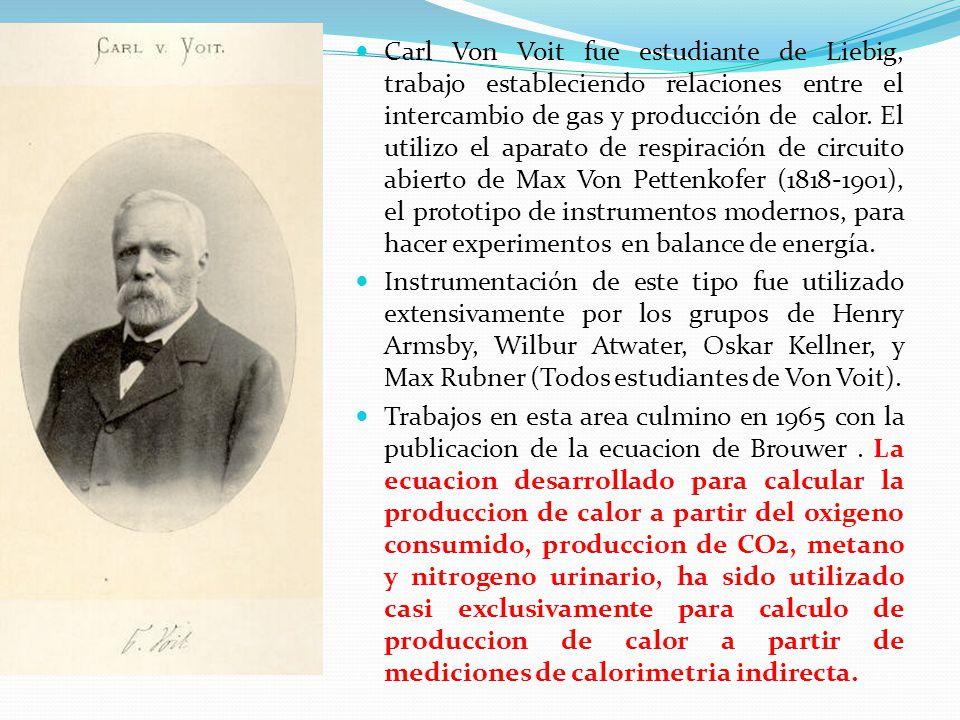 Carl Von Voit fue estudiante de Liebig, trabajo estableciendo relaciones entre el intercambio de gas y producción de calor. El utilizo el aparato de r
