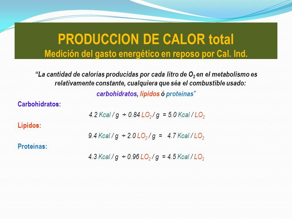La cantidad de calorías producidas por cada litro de O 2 en el metabolismo es relativamente constante, cualquiera que séa el combustible usado: carboh