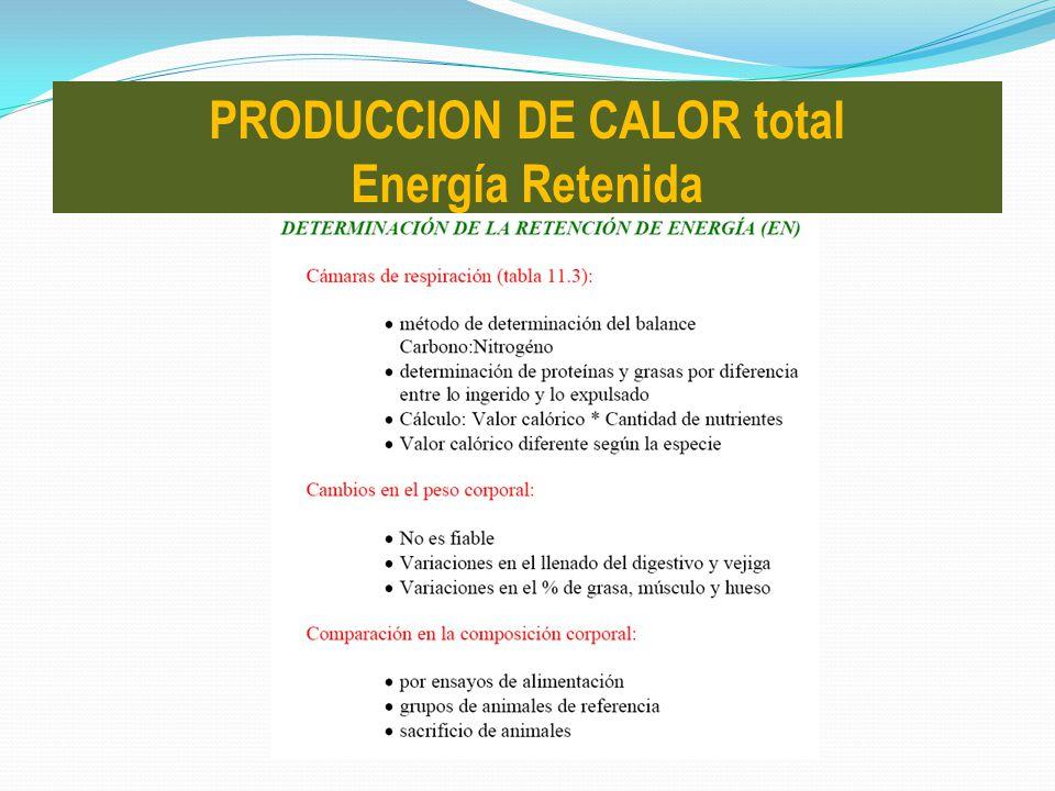 PRODUCCION DE CALOR total Energía Retenida