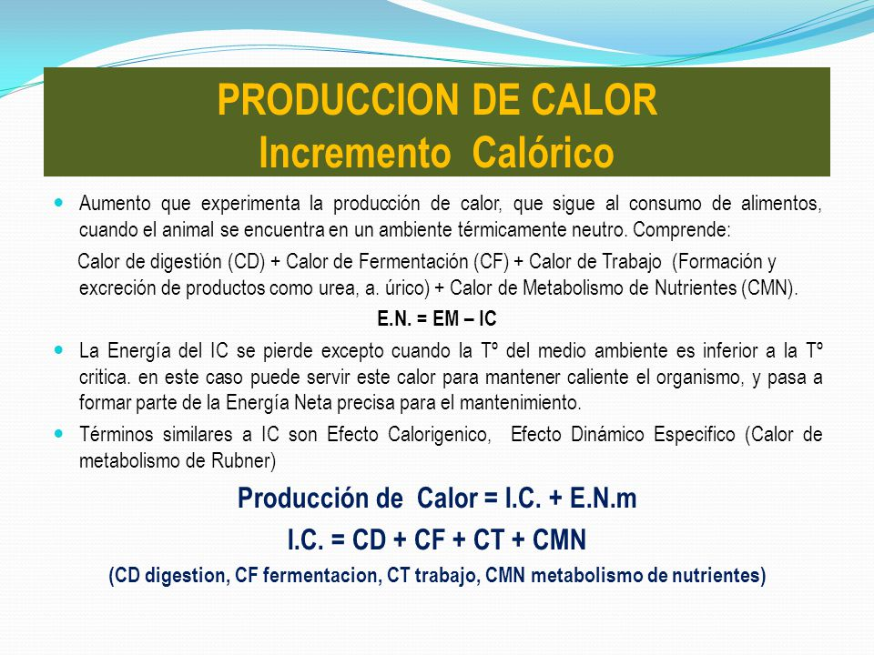 Aumento que experimenta la producción de calor, que sigue al consumo de alimentos, cuando el animal se encuentra en un ambiente térmicamente neutro. C