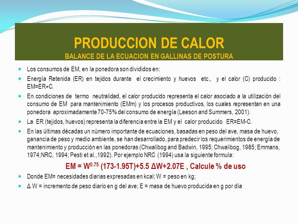 Los consumos de EM, en la ponedora son divididos en: Energía Retenida (ER) en tejidos durante el crecimiento y huevos etc., y el calor (C) producido :