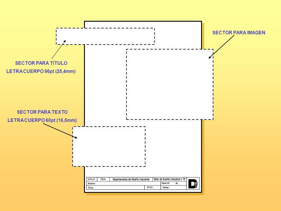 SECTOR PARA IMAGEN SECTOR PARA TEXTO LETRA CUERPO 60pt (16,5mm) SECTOR PARA TÍTULO LETRA CUERPO 96pt (25,4mm)