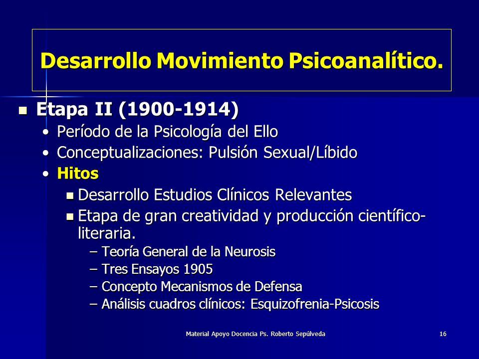 Material Apoyo Docencia Ps. Roberto Sepúlveda16 Desarrollo Movimiento Psicoanalítico. Etapa II (1900-1914) Etapa II (1900-1914) Período de la Psicolog