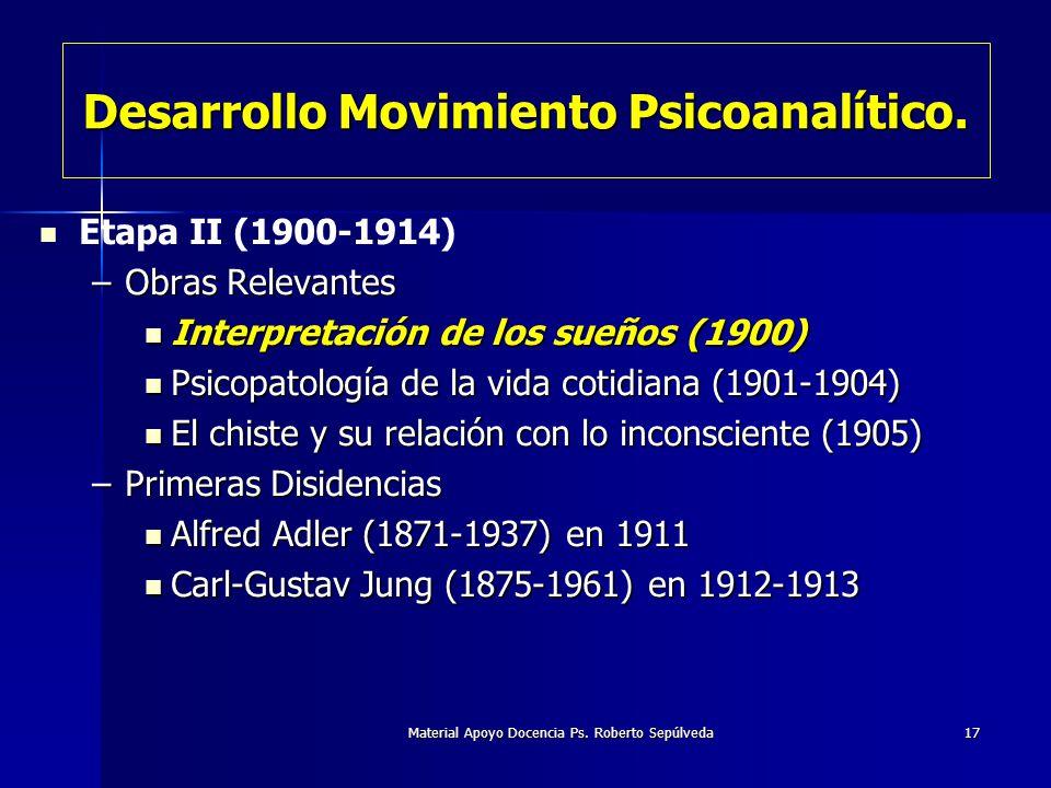 Material Apoyo Docencia Ps. Roberto Sepúlveda17 Etapa II (1900-1914) –Obras Relevantes Interpretación de los sueños (1900) Interpretación de los sueño