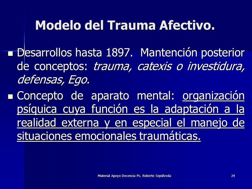 Material Apoyo Docencia Ps. Roberto Sepúlveda24 Modelo del Trauma Afectivo. Desarrollos hasta 1897. Mantención posterior de conceptos: trauma, catexis