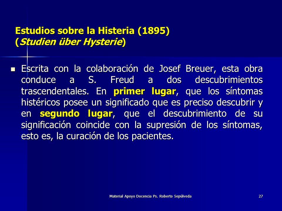 Material Apoyo Docencia Ps. Roberto Sepúlveda27 Estudios sobre la Histeria (1895) (Studien über Hysterie) Escrita con la colaboración de Josef Breuer,