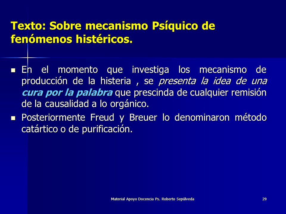 Material Apoyo Docencia Ps. Roberto Sepúlveda29 Texto: Sobre mecanismo Psíquico de fenómenos histéricos. En el momento que investiga los mecanismo de