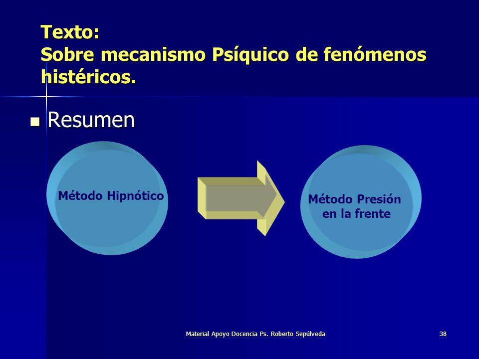 Material Apoyo Docencia Ps. Roberto Sepúlveda38 Texto: Sobre mecanismo Psíquico de fenómenos histéricos. Resumen Resumen Método Hipnótico Método Presi