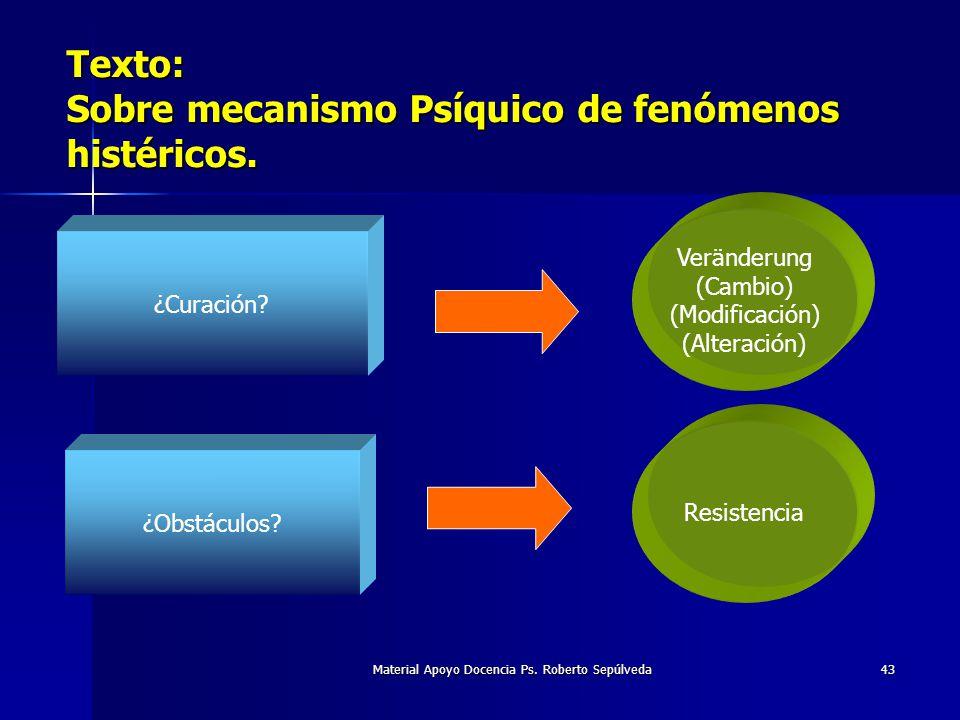 Material Apoyo Docencia Ps. Roberto Sepúlveda43 Texto: Sobre mecanismo Psíquico de fenómenos histéricos. ¿Curación? Veränderung (Cambio) (Modificación