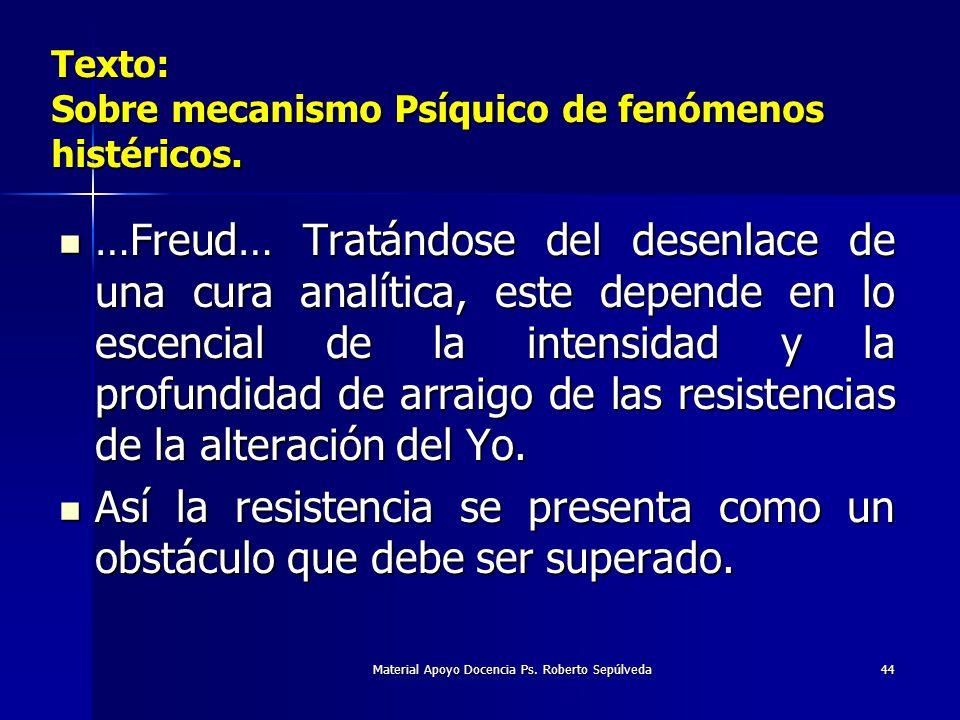 Material Apoyo Docencia Ps. Roberto Sepúlveda44 …Freud… Tratándose del desenlace de una cura analítica, este depende en lo escencial de la intensidad