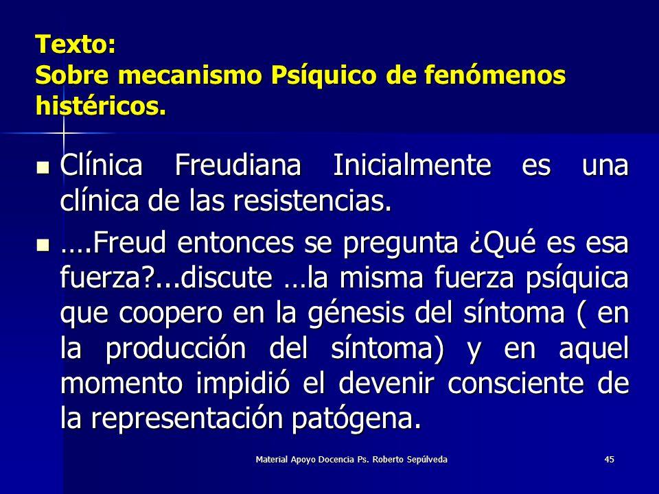 Material Apoyo Docencia Ps. Roberto Sepúlveda45 Texto: Sobre mecanismo Psíquico de fenómenos histéricos. Clínica Freudiana Inicialmente es una clínica
