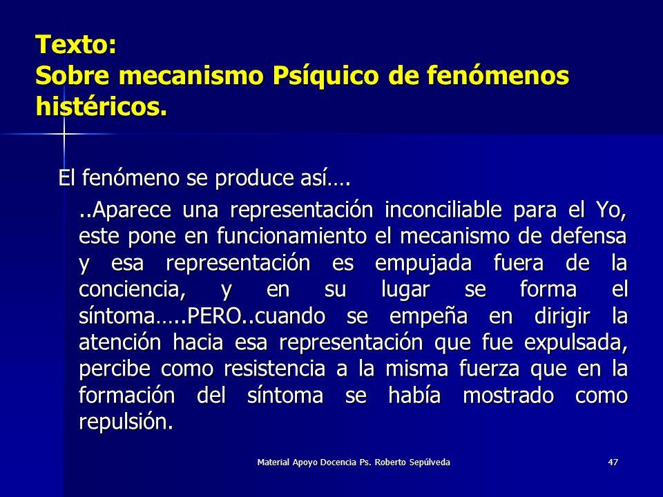 Material Apoyo Docencia Ps. Roberto Sepúlveda47 Texto: Sobre mecanismo Psíquico de fenómenos histéricos. El fenómeno se produce así…...Aparece una rep