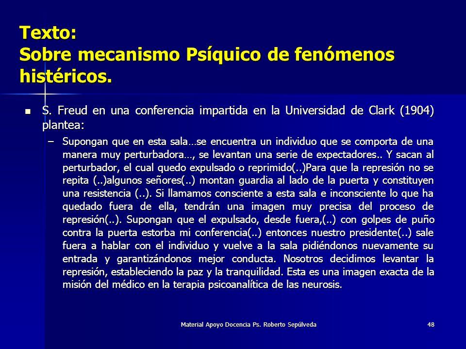 Material Apoyo Docencia Ps. Roberto Sepúlveda48 Texto: Sobre mecanismo Psíquico de fenómenos histéricos. S. Freud en una conferencia impartida en la U