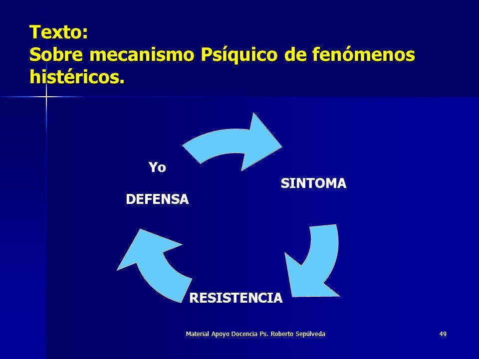 Material Apoyo Docencia Ps. Roberto Sepúlveda49 Texto: Sobre mecanismo Psíquico de fenómenos histéricos. SINTOMA RESISTENCIA Yo DEFENSA
