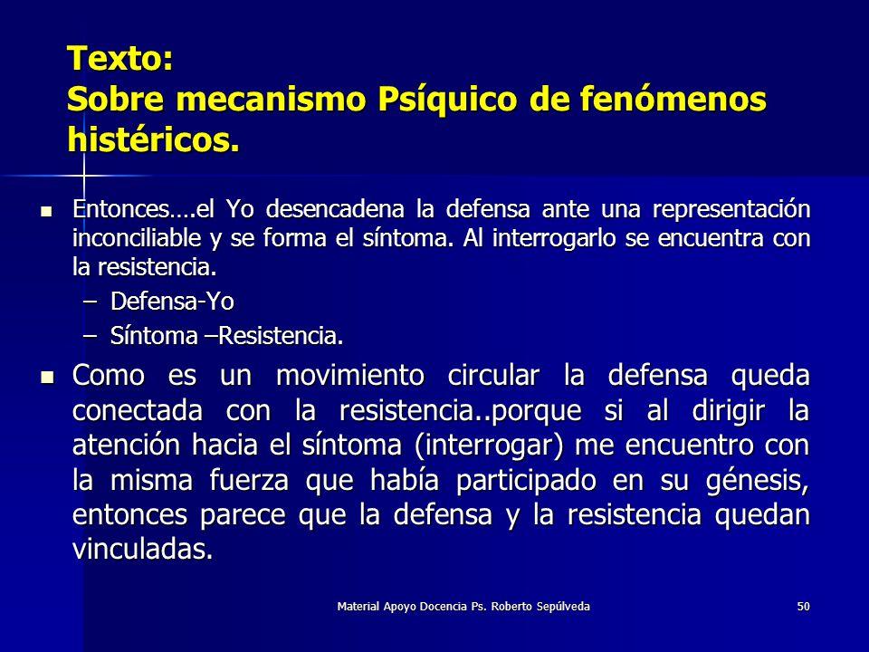 Material Apoyo Docencia Ps. Roberto Sepúlveda50 Texto: Sobre mecanismo Psíquico de fenómenos histéricos. Entonces….el Yo desencadena la defensa ante u