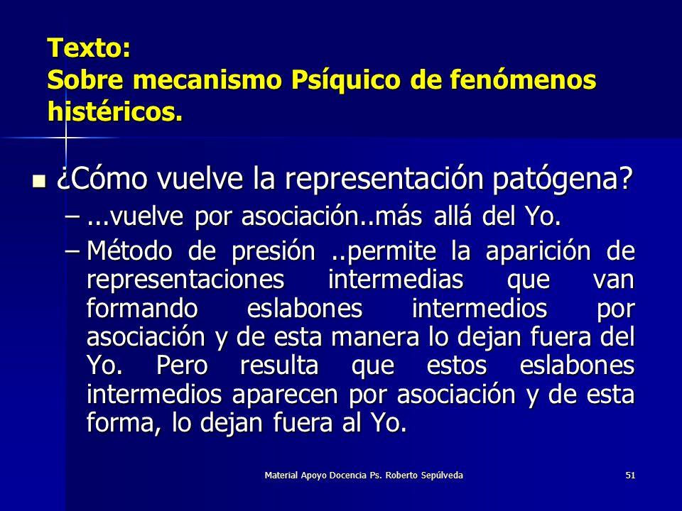 Material Apoyo Docencia Ps. Roberto Sepúlveda51 Texto: Sobre mecanismo Psíquico de fenómenos histéricos. ¿Cómo vuelve la representación patógena? ¿Cóm