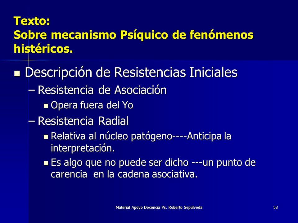 Material Apoyo Docencia Ps. Roberto Sepúlveda53 Texto: Sobre mecanismo Psíquico de fenómenos histéricos. Descripción de Resistencias Iniciales Descrip