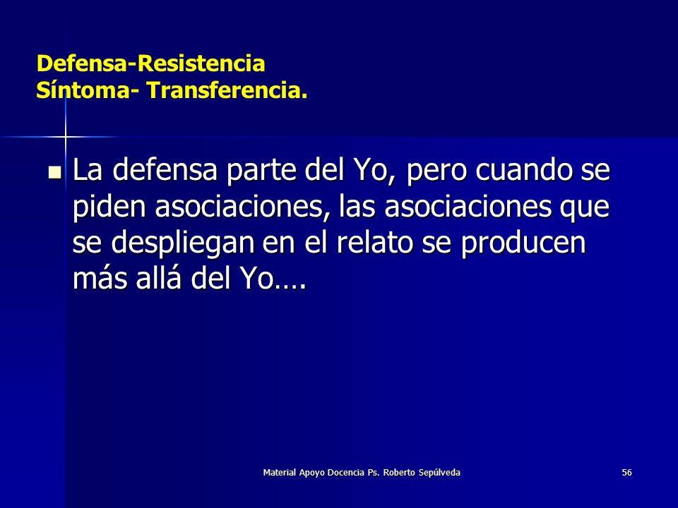 Material Apoyo Docencia Ps. Roberto Sepúlveda56 Defensa-Resistencia Síntoma- Transferencia. La defensa parte del Yo, pero cuando se piden asociaciones