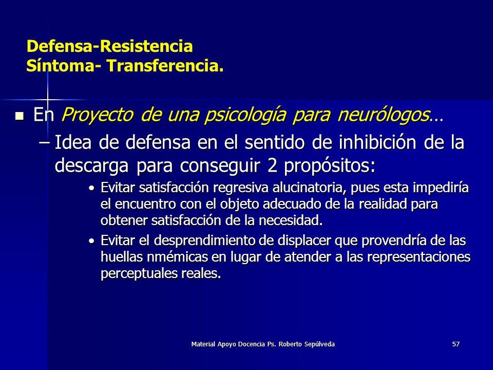 Material Apoyo Docencia Ps. Roberto Sepúlveda57 Defensa-Resistencia Síntoma- Transferencia. En Proyecto de una psicología para neurólogos… En Proyecto