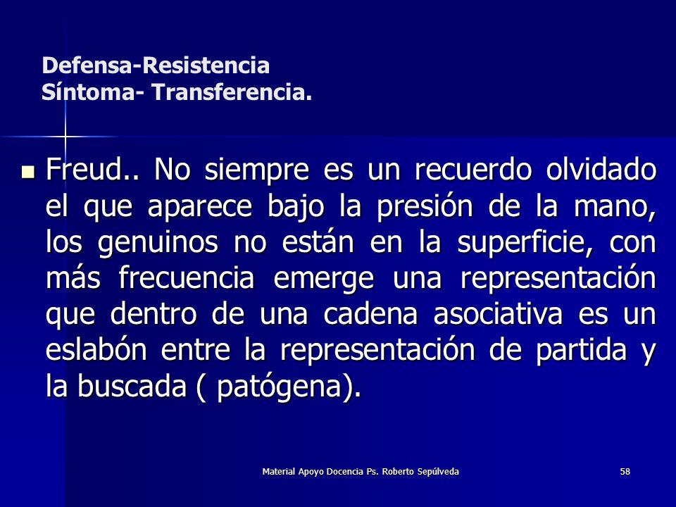 Material Apoyo Docencia Ps. Roberto Sepúlveda58 Freud.. No siempre es un recuerdo olvidado el que aparece bajo la presión de la mano, los genuinos no