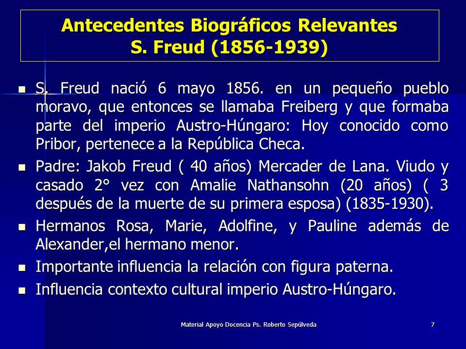 Material Apoyo Docencia Ps. Roberto Sepúlveda7 Antecedentes Biográficos Relevantes S. Freud (1856-1939) S. Freud nació 6 mayo 1856. en un pequeño pueb