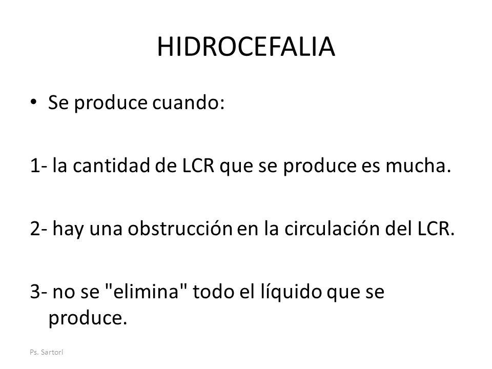 HIDROCEFALIA Se produce cuando: 1- la cantidad de LCR que se produce es mucha. 2- hay una obstrucción en la circulación del LCR. 3- no se