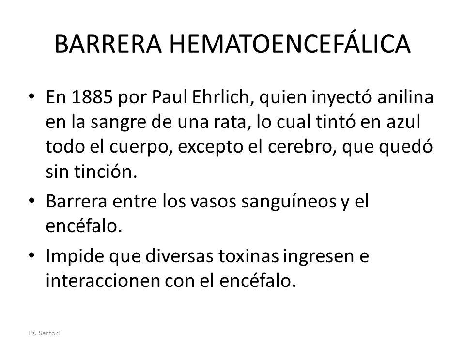 BARRERA HEMATOENCEFÁLICA En 1885 por Paul Ehrlich, quien inyectó anilina en la sangre de una rata, lo cual tintó en azul todo el cuerpo, excepto el ce
