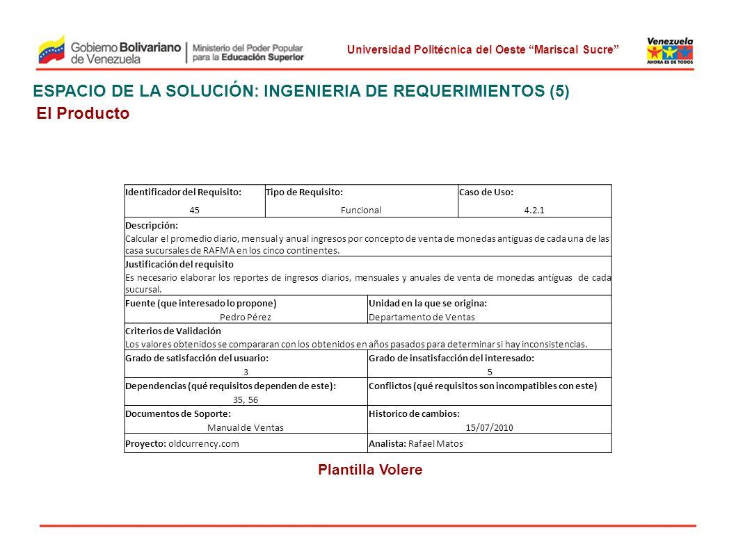 Universidad Politécnica del Oeste Mariscal Sucre ESPACIO DE LA SOLUCIÓN: INGENIERIA DE REQUERIMIENTOS (5) El Producto Plantilla Volere Identificador d
