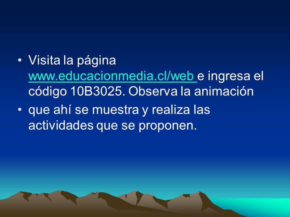 Visita la página www.educacionmedia.cl/web e ingresa el código 10B3025. Observa la animación www.educacionmedia.cl/web que ahí se muestra y realiza la