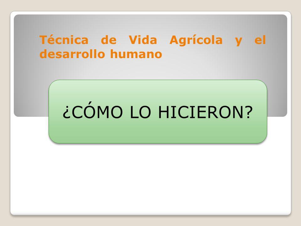 Técnica de Vida Agrícola y el desarrollo humano ¿CÓMO LO HICIERON?