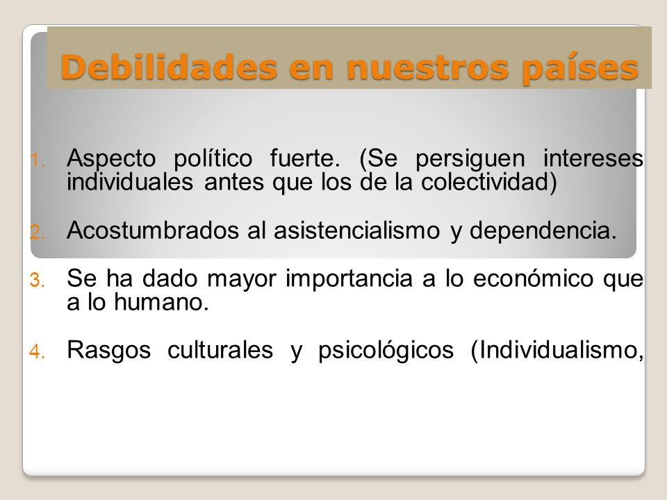 Debilidades en nuestros países 1. Aspecto político fuerte. (Se persiguen intereses individuales antes que los de la colectividad) 2. Acostumbrados al