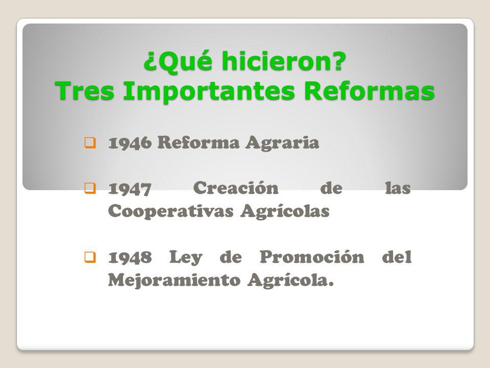 ¿Qué hicieron? Tres Importantes Reformas 1946 Reforma Agraria 1947 Creación de las Cooperativas Agrícolas 1948 Ley de Promoción del Mejoramiento Agríc