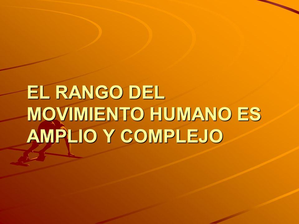 EL RANGO DEL MOVIMIENTO HUMANO ES AMPLIO Y COMPLEJO