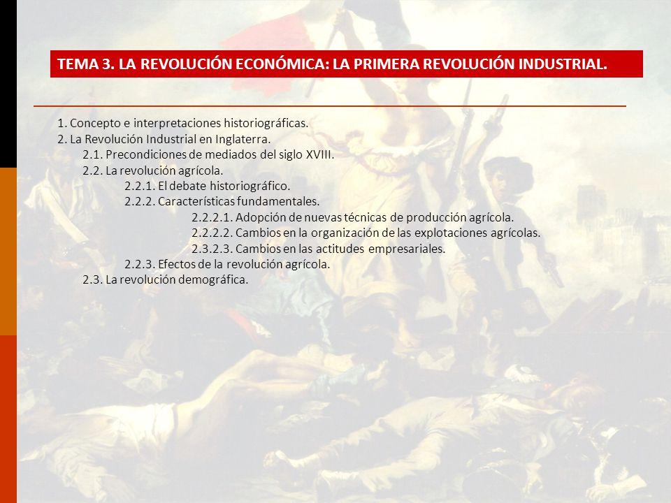 1. Concepto e interpretaciones historiográficas. 2. La Revolución Industrial en Inglaterra. 2.1. Precondiciones de mediados del siglo XVIII. 2.2. La r