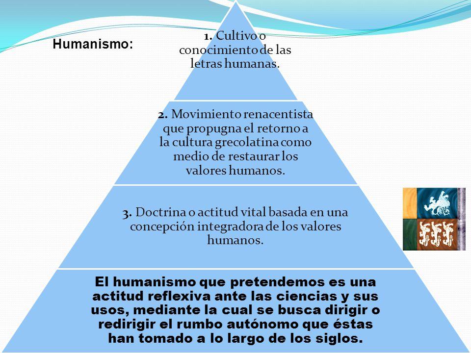 1. Cultivo o conocimiento de las letras humanas. 2. Movimiento renacentista que propugna el retorno a la cultura grecolatina como medio de restaurar l