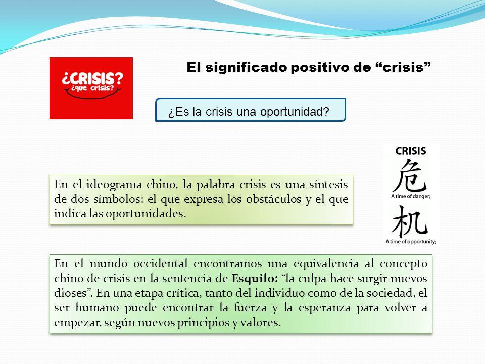 ¿Es la crisis una oportunidad? En el ideograma chino, la palabra crisis es una síntesis de dos símbolos: el que expresa los obstáculos y el que indica