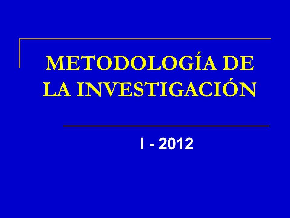METODOLOGÍA DE LA INVESTIGACIÓN I - 2012