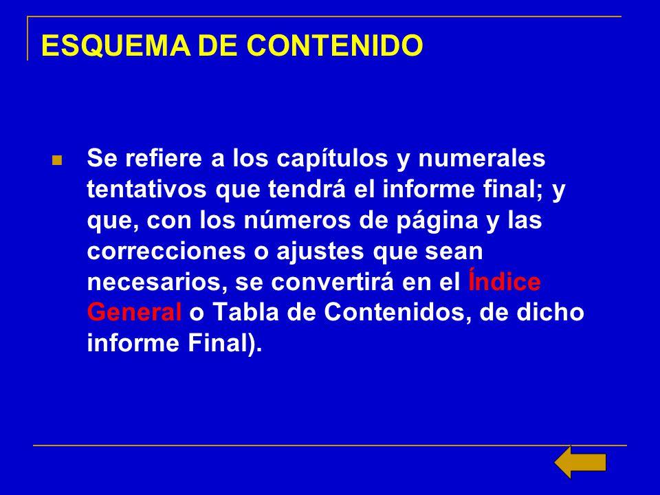 ESQUEMA DE CONTENIDO Se refiere a los capítulos y numerales tentativos que tendrá el informe final; y que, con los números de página y las correccione