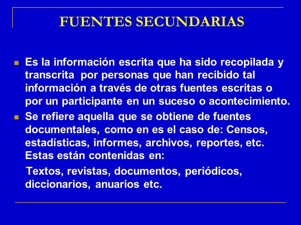 FUENTES SECUNDARIAS Es la información escrita que ha sido recopilada y transcrita por personas que han recibido tal información a través de otras fuen