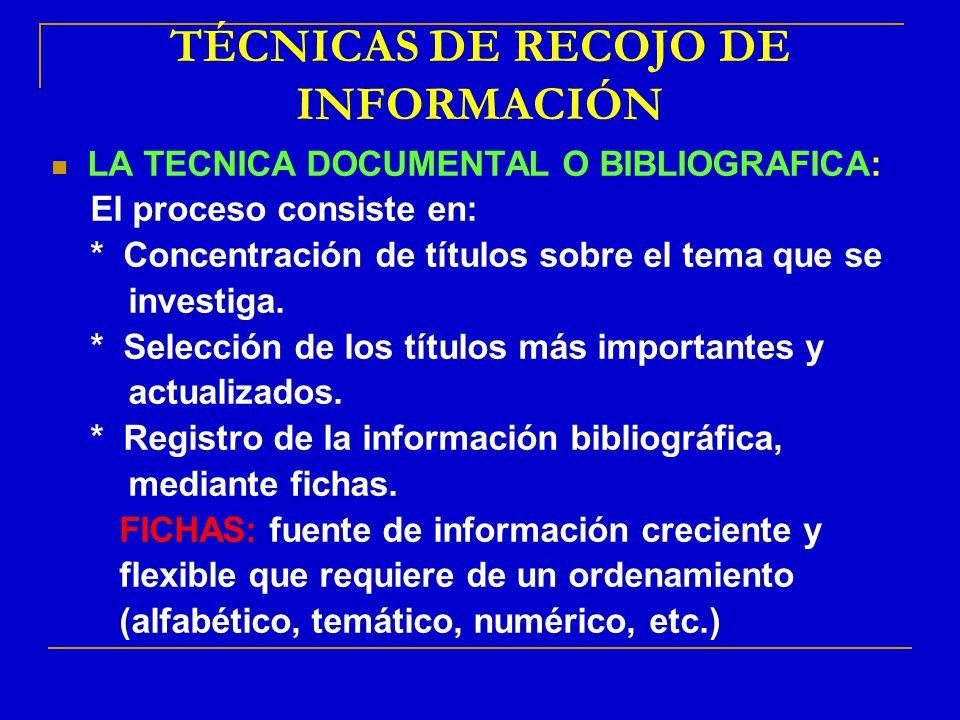 TÉCNICAS DE RECOJO DE INFORMACIÓN LA TECNICA DOCUMENTAL O BIBLIOGRAFICA: El proceso consiste en: * Concentración de títulos sobre el tema que se inves
