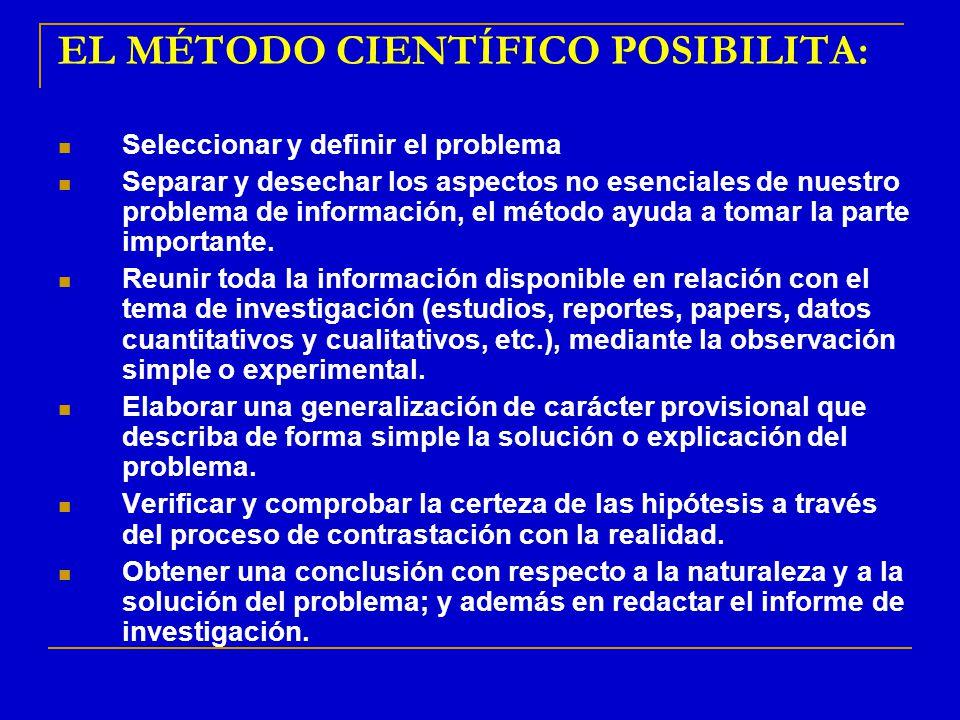 EL MÉTODO CIENTÍFICO POSIBILITA: Seleccionar y definir el problema Separar y desechar los aspectos no esenciales de nuestro problema de información, e